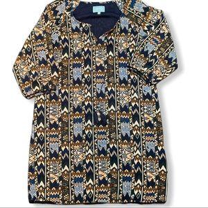 Anthro Skies are blue 3/4 sleeve Aztec print dress